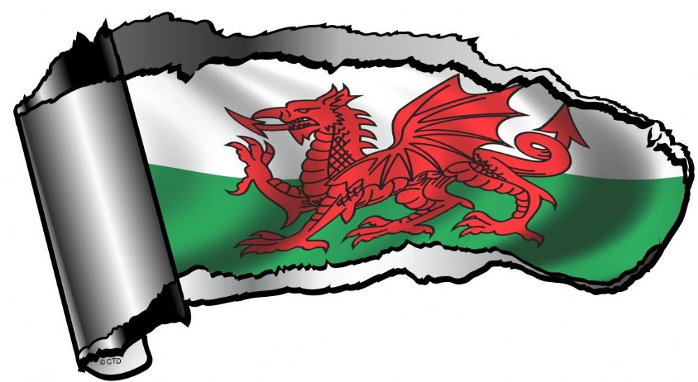 Ripped Open Gash Torn Metal Design With Welsh Dragon Wales
